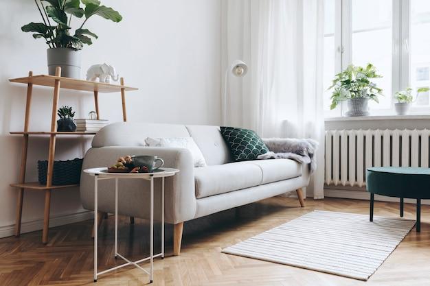 Stijlvolle compositie van creatief ruim woonkamerinterieur met moderne bank, houten meubels, planten, tapijt en accessoires. neutrale wanden en parketvloer.