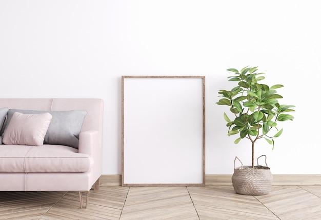 Stijlvolle compositie van witte woonkamer interieur met houten vloer, design meubelen en groene plant in pot. mooie roze bank met grijs kussen. huisdecoratie