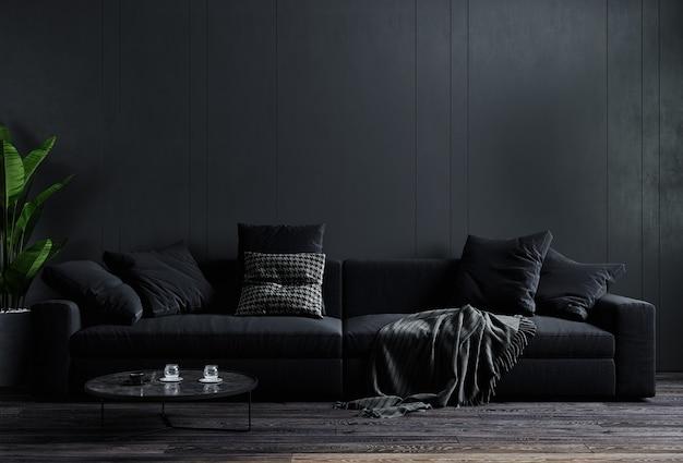 Stijlvolle donkere woonkamer interieur achtergrond, zwarte muur, scandinavische stijl, 3d illustratie. woonkamer mockup. 3d-weergave