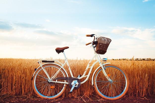 Stijlvolle fiets bij zonsondergang op het platteland
