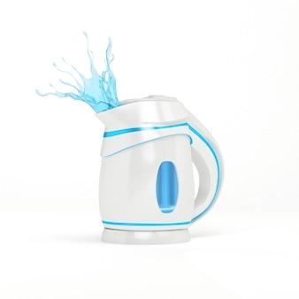 Stijlvolle geïsoleerde plastic elektrische witte waterkoker. 3d-afbeelding, 3d-rendering.