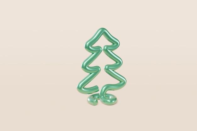 Stijlvolle kerstboom van metaaldraad. concept illustratie den op een licht beige achtergrond, wenskaart, felicitatie, uitnodiging. 3d-weergave