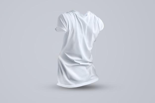 Stijlvolle mockup met vorm van het lege vrouwelijke t-shirt zonder lichaam geïsoleerd op de achtergrond van de studio, achteraanzicht. sjabloon klaar voor uw ontwerp.