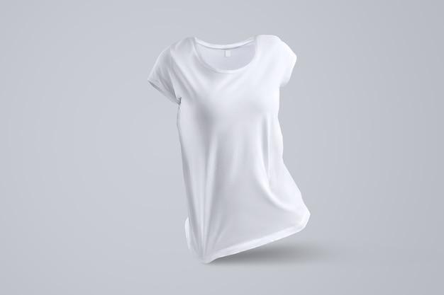 Stijlvolle mockup met vorm van het witte vrouwelijke t-shirt zonder lichaam geïsoleerd op de grijze achtergrond, vooraanzicht. sjabloon klaar voor uw logo.