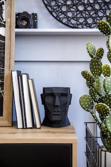 Stijlvolle scandinavische compositie met houten commode, design plantenpot, retro fotocamera, boeken, cactussen, decoratie en elegante persoonlijke accessoires in modern concept.