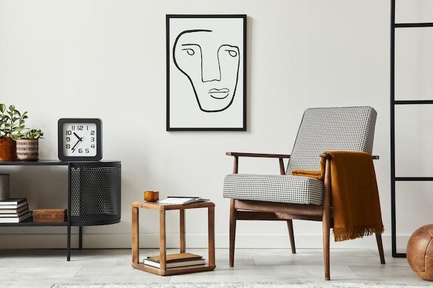 Stijlvolle scandinavische compositie van woonkamer met design fauteuil, zwarte posterlijst, commode, houten kruk, plant, decoratie, loftmuur en persoonlijke accessoires in modern interieur.