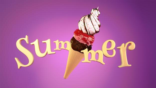 Stijlvolle tekst zomer met ijsje op glanzende pu