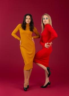 Stijlvolle vrouwen in gele en rode herfst winter mode gebreide jurk poseren geïsoleerd op rode muur