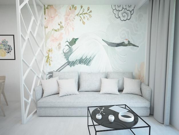 Stijlvolle witte luxe woonkamer met moderne meubels en fluwelen bank
