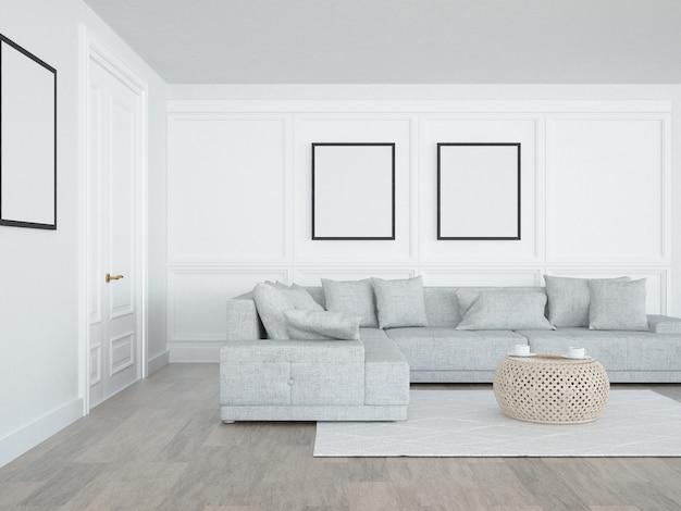Stijlvolle woonkamer met bank en postersjabloon op vormmuren