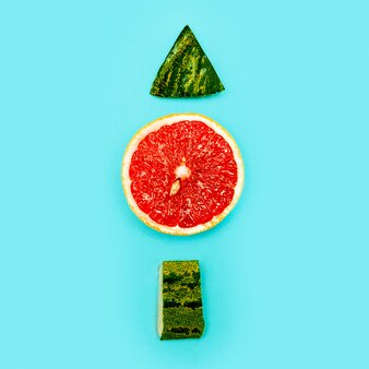 Stilleven grapefruit en watermeloen minimalisme