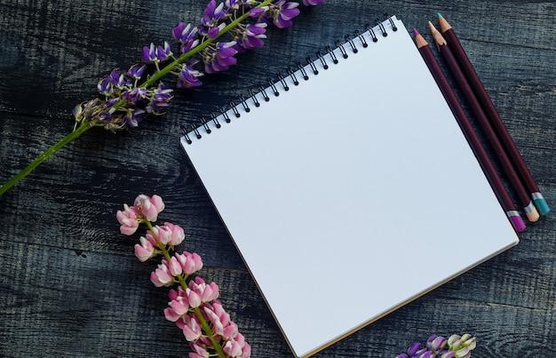 Stilleven, kunst, kantoorbenodigdheden of onderwijsconcept: bovenaanzicht van notitieblok openen met lege pagina's en koffiekopje op houten achtergrond, klaar om toe te voegen of te bespotten