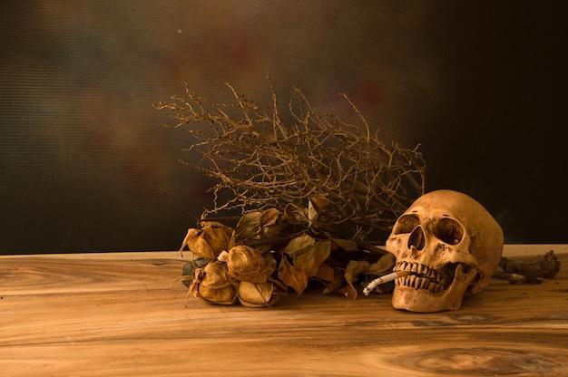 Stilleven met menselijke schedel