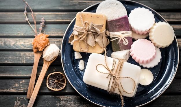 Stilleven van spa met zeep