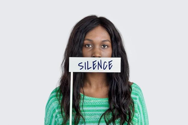 Stilte vrede rust word concept