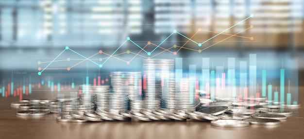 Stock market forex trading grafiek kandelaar grafiek geschikt voor financiële investeringen concept en munten