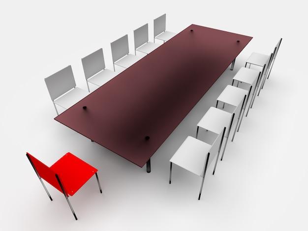 Stoelen en tafel. leiderschap concept