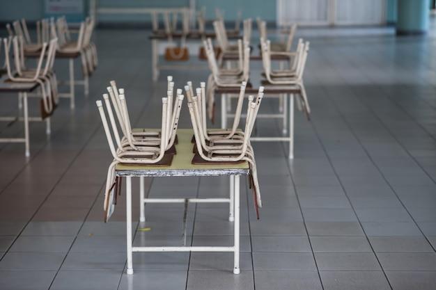 Stoelen op tafels in de kleuterklas