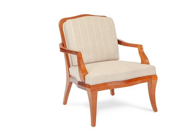 Stoffen en houten fauteuil moderne ontwerper