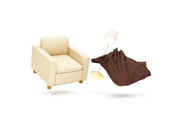 Stoffen fauteuil met badstof deken en lamp die op witte bakgrond drijft