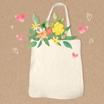 Stoffen tas met bloemen ontwerpelement