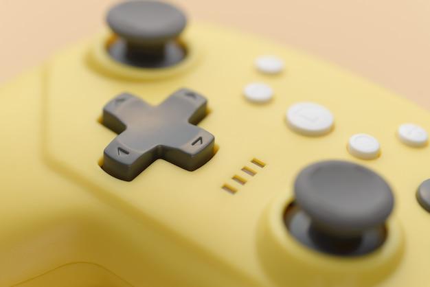 Stok van een close-up van de gele spelbesturing. videogames, entertainment thuis.