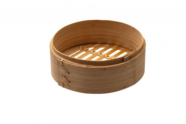 Stoom van het de container de japanse japanse voedsel van dimsum met het knippen van weg op wit
