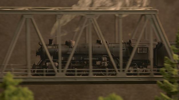 Stoomlocomotief op het zijaanzicht van de brug.