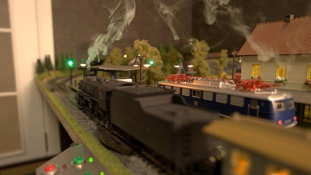 Stoomlocomotief trein met stoom.
