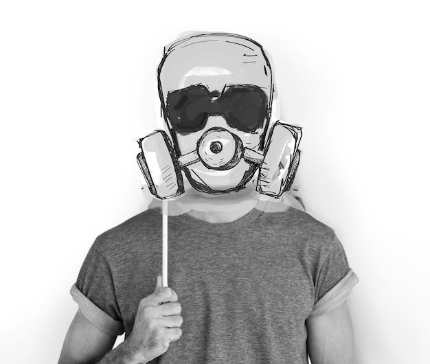 Stop anti tegen verlaten gasmasker word grafisch