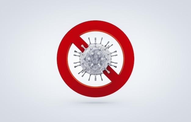 Stop coronavirus pictogram teken. de strijd tegen het coronavirus. geen infectie en stop coronavirusconcepten. 3d geïsoleerd