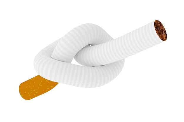 Stoppen met roken concept. sigaret gebonden aan een knoop op een witte achtergrond 3d-rendering