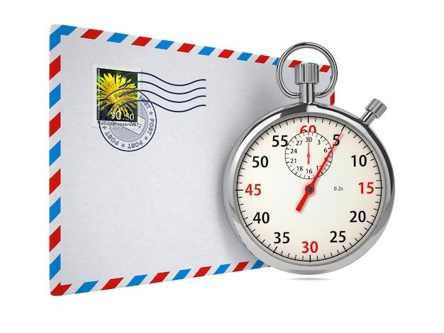 Stopwatch en brief. geïsoleerd op wit.