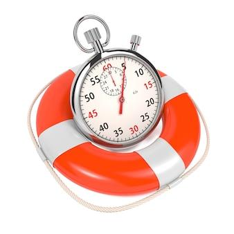 Stopwatch in reddingsboei op witte achtergrond. bewaar het tijdconcept.