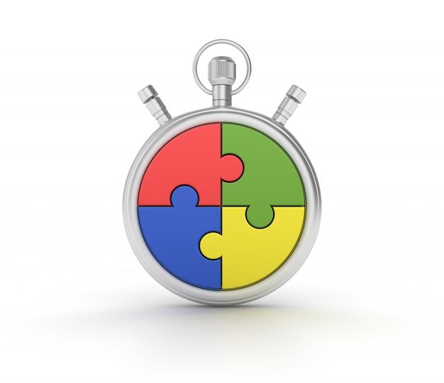 Stopwatch met puzzelstukken