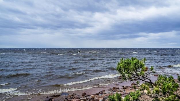 Stormachtig weer op de oostzee. grote golven rollen op de kust. dramatisch landschap.