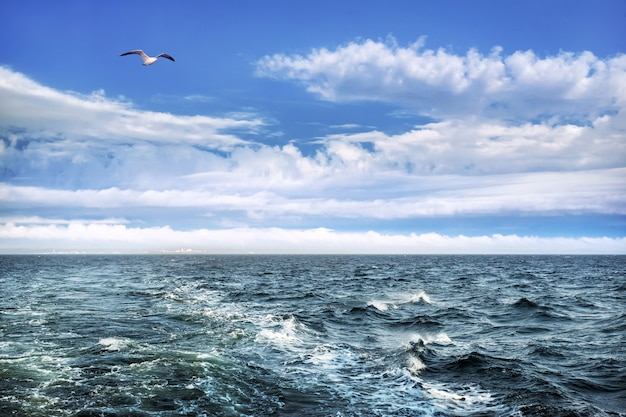Stormgolven in de witte zee nabij de solovetsky-eilanden en het solovetsky-klooster in de stralen van de zon aan de horizon