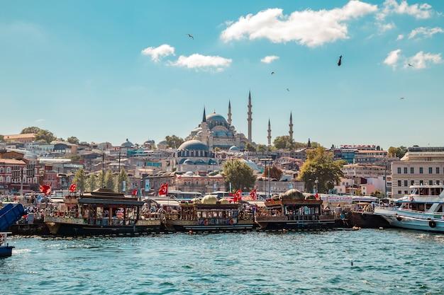 Straat van de bosporus en de suleymaniye-moskee.