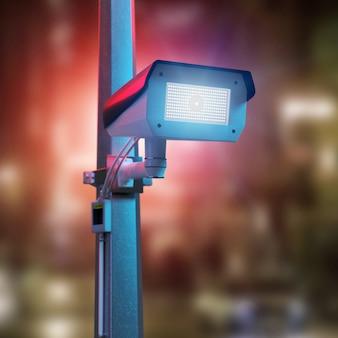 Straatbeveiliging cctv camera filmen van een nacht stad -