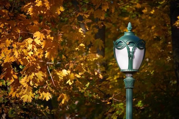 Straatlantaarn in het park op een achtergrond van oranje gebladerte van bomen, selectieve nadruk