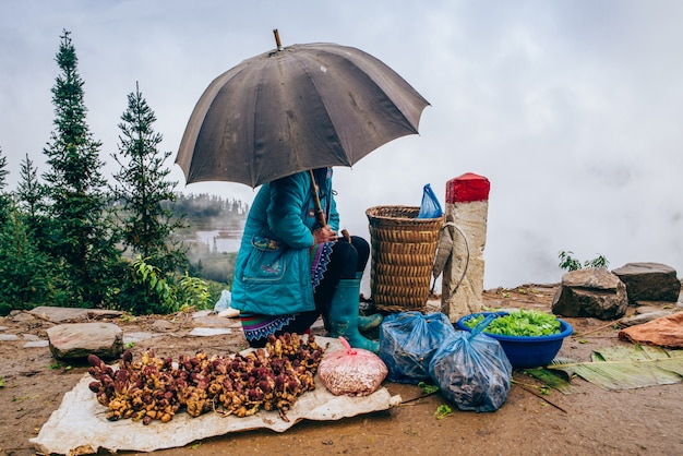 Straatverkoper in sapa, vietnam
