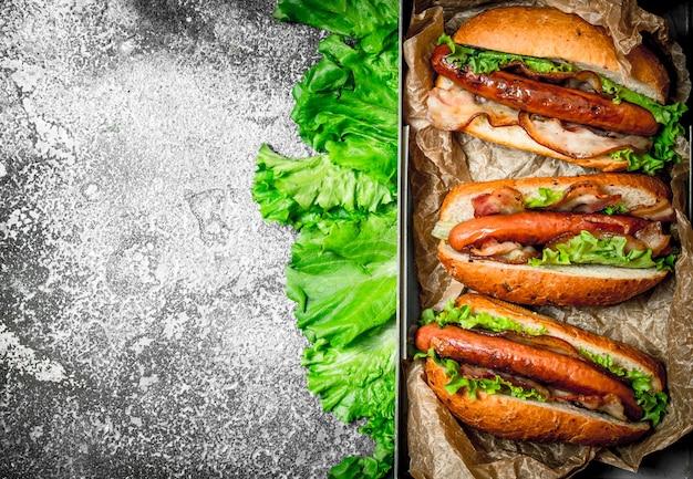 Straatvoedsel. hotdogs rundvlees barbecue met hete sauzen op rustieke tafel.