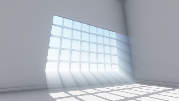 Stralen licht venster achtergrond, 3d-rendering