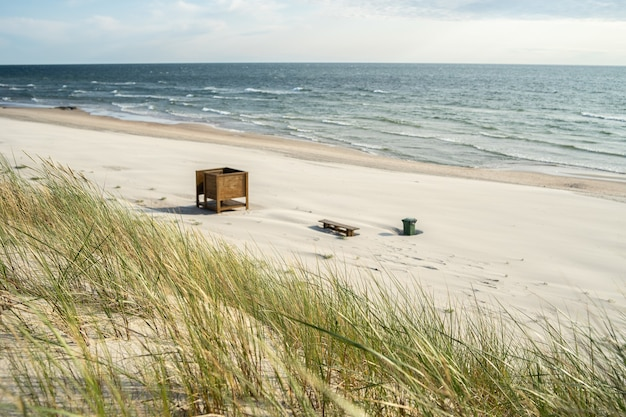 Strand bedekt met gras met houten banken erop, omgeven door de zee onder zonlicht