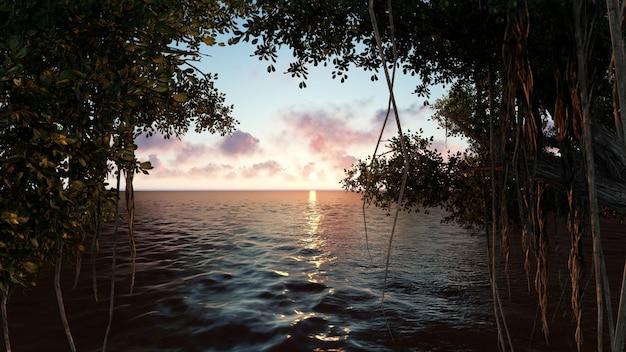 Strand bij zonsondergang met bomen
