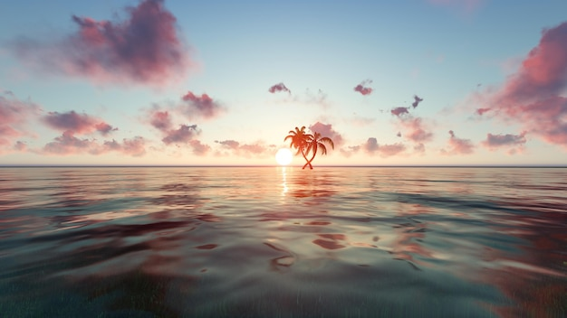 Strand bij zonsondergang met een kleine palmboom