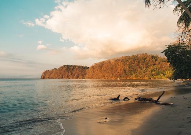 Strand en kalme oceaan in zonsonderganglichten