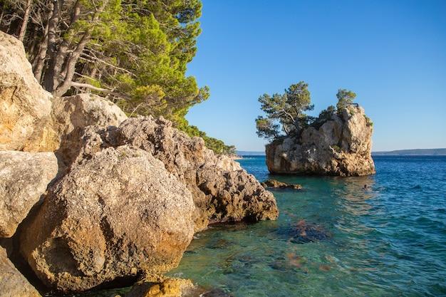 Strand in brela naar makarska riviera, dalmatië, kroatië