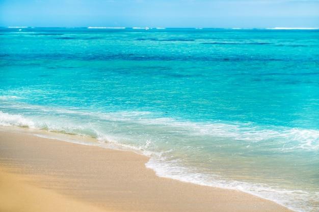 Strand in le morne-brabant. koraalrif van het eiland mauritius.
