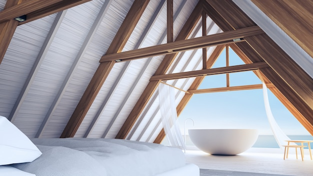 Strand slaapkamer in een frame houten huis - eenvoudig en ontspannen / 3d rendering interieur